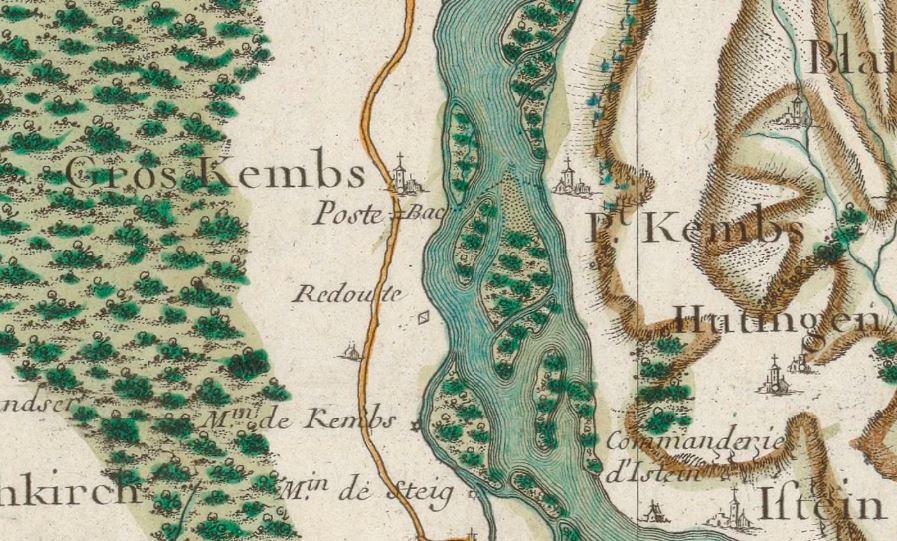 Carte de Cassini de Kembs au XVIIIe siècle