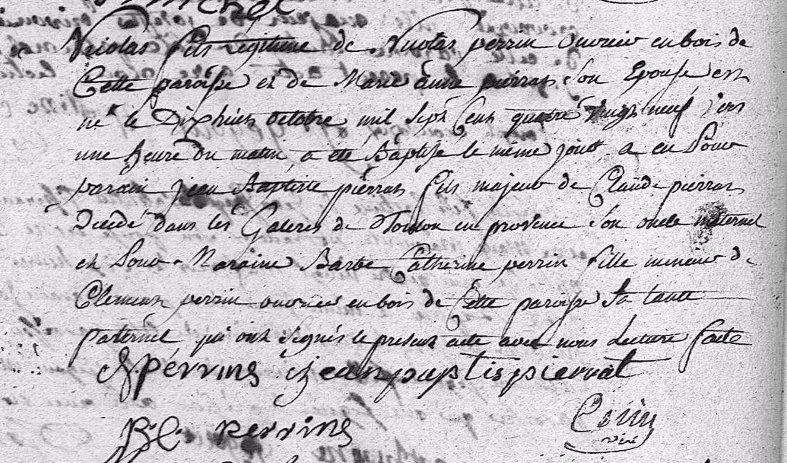 Extrait du Baptême de Nicolas PERRIN en 1789