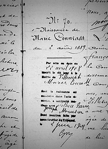 Extrait de l'acte de naissance de Marie CONNRADT