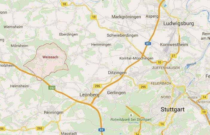 Image GoogleMaps de Weissach et ses environs